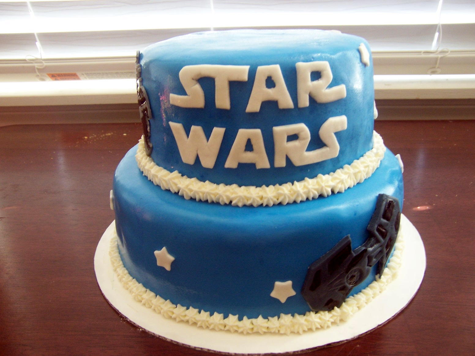 Star Wars   2 Tier Cake with Figures and Stars Sugar ...